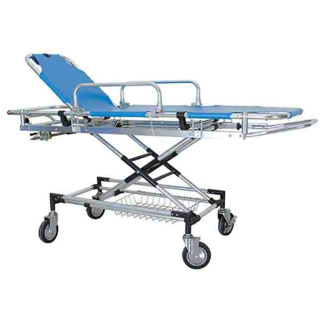 Stretcher Trolly Aluminium With Adjustable Height Adjustable Back Rest